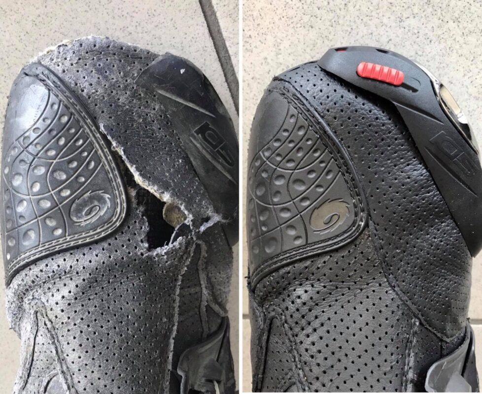 Naprawa uszkodzonego buta motocyklowego