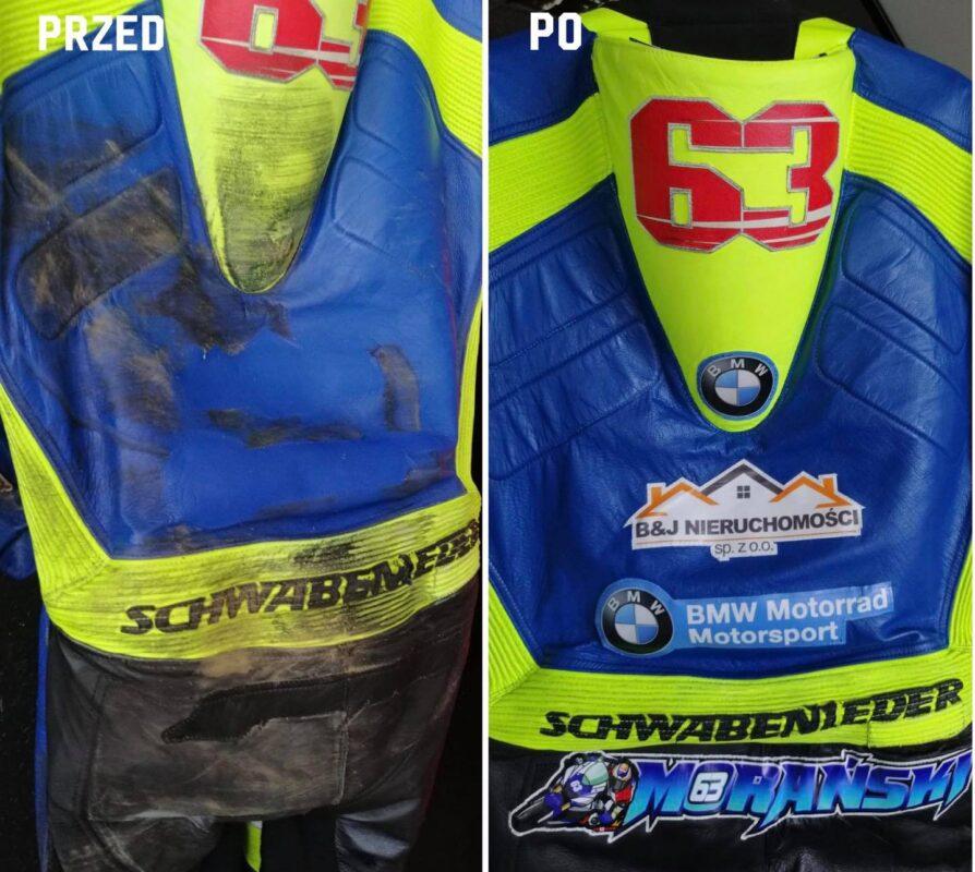 Pełna renowacja kombinezonu motocyklowego oraz personalizacja naszywkami oraz malowaniem