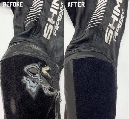Naprawa uszkodzonego kolana w kombinezonie motocyklowym