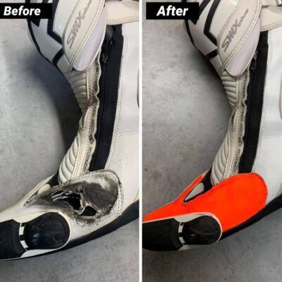 Naprawa uszkodzonego buta oraz częściowa personalizacja na kolor FLUO