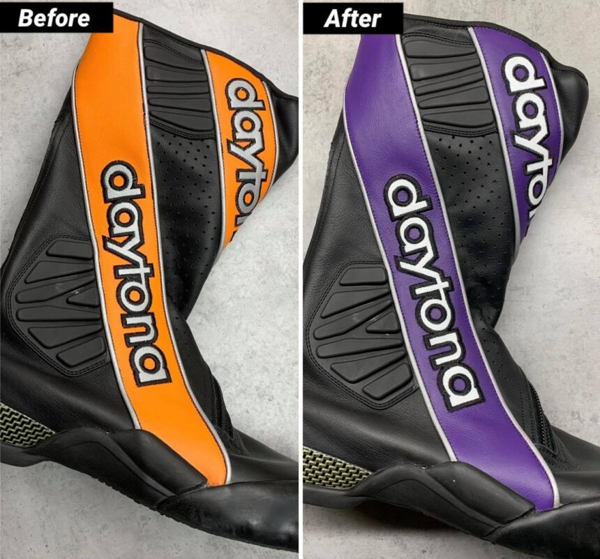 Naprawa uszkodzonego buta motocyklowego oraz częściowa personalizacja malowaniem